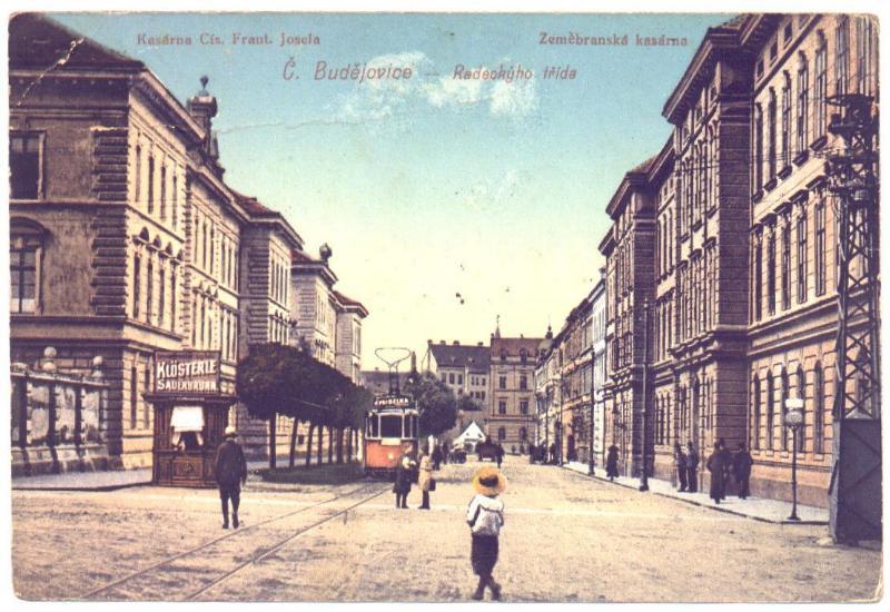 Tramvaj v Českých Budějovicích na dobové pohlednici