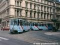 Souprava vozů T6A5 ev.č.8681+8682 na lince 3 u Národního divadla